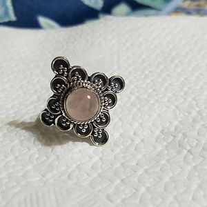 Sterling Silver and rose quartz ring